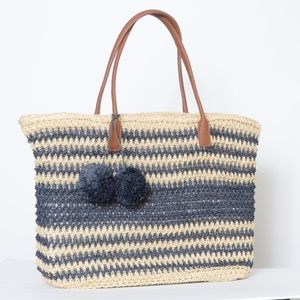 **Large Straw Beach Bag**  NWOT